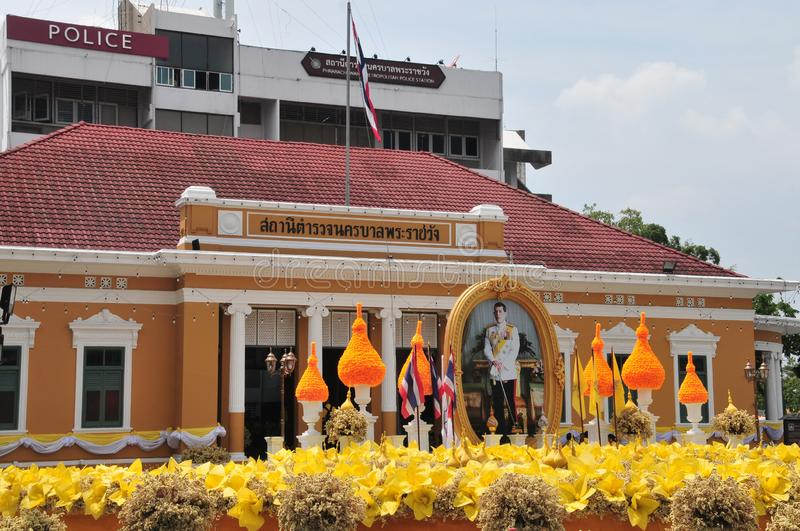 Phrarachawang metro police. BANGKOK, THAILAND – 8 MAY 2019 : Decorate the flower arch In front of the phrarachawang metro police. From May 29 – 31 royalty free stock photos