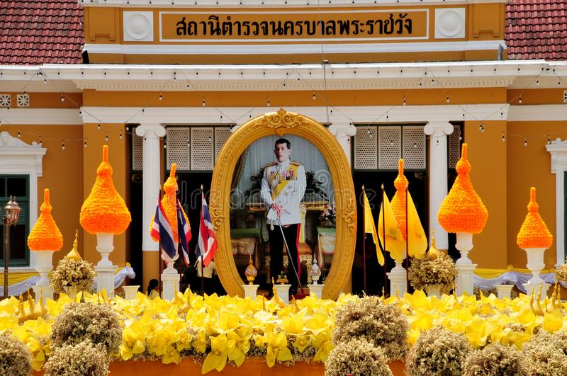 Phrarachawang metro police. BANGKOK, THAILAND – 8 MAY 2019 : Decorate the flower arch In front of the phrarachawang metro police. From May 29 – 31 stock photo