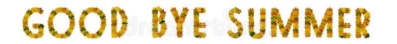 Phrase Good bye zomer van geel, groen en oranje maple herfst verlaat close-up Isoleren op witte achtergrond royalty-vrije stock afbeeldingen