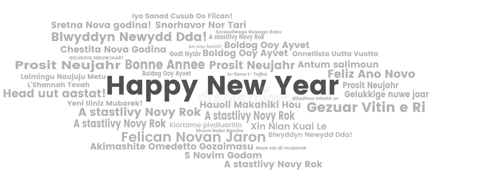 Happy New Year words cloud. The phrase Happy New Year in different languages with the more widely spoken in bigger fonts, in white background vector illustration