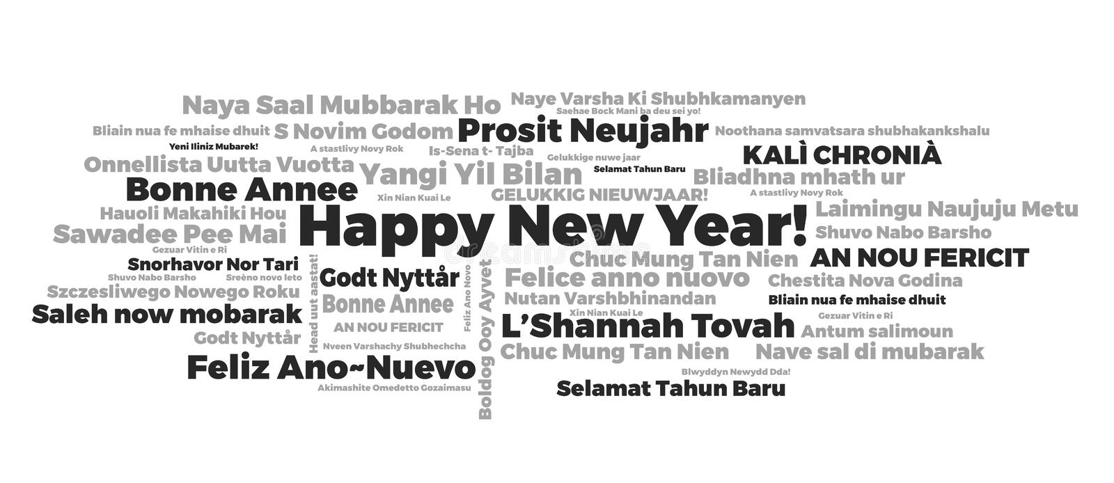 Happy New Year words cloud. The phrase Happy New Year in different languages with the more widely spoken in bigger fonts, in white background stock illustration
