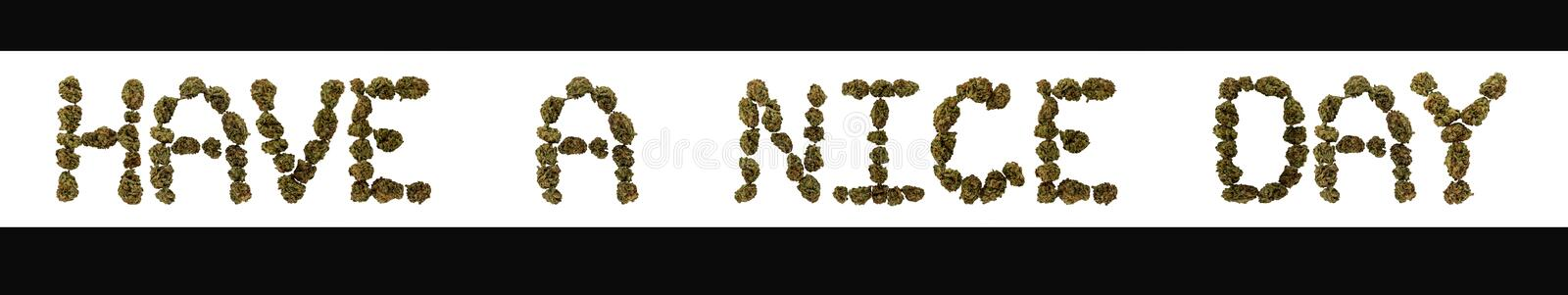 The phrase have a nice day written in large marijuana buds. vector illustration