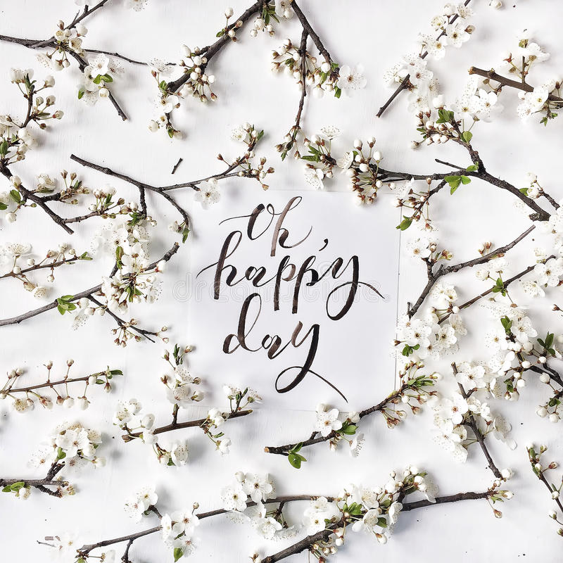 Phrase oh happy day written in calligraphy style stock photo