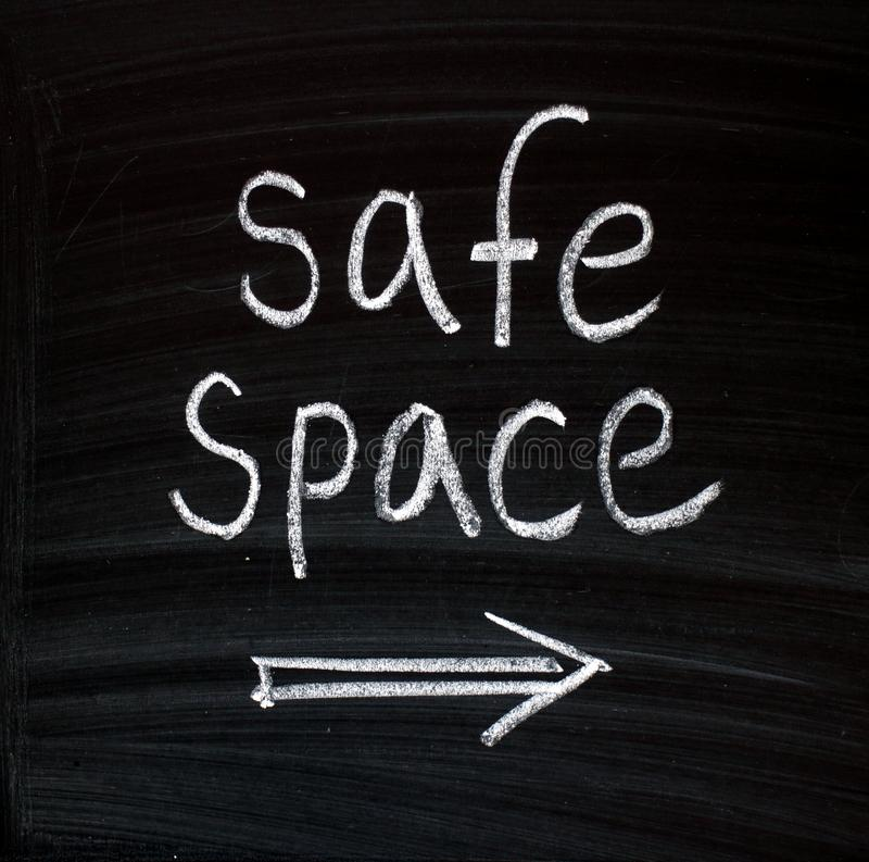 The phrase Safe Space on a blackboard royalty free stock photos