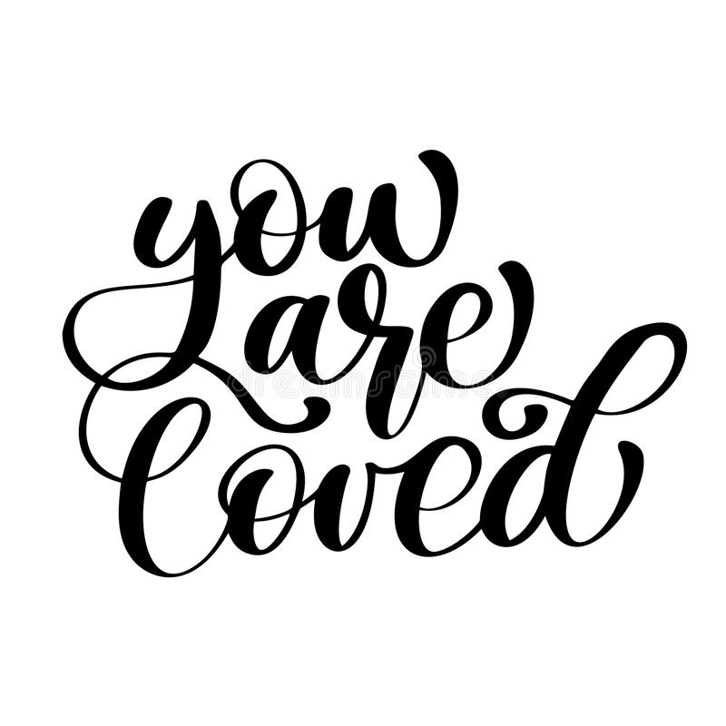 Phrase You Are Loved on Valentines Day Hand drawn typography lettering isolated on the white background. Fun brush ink vector illustration