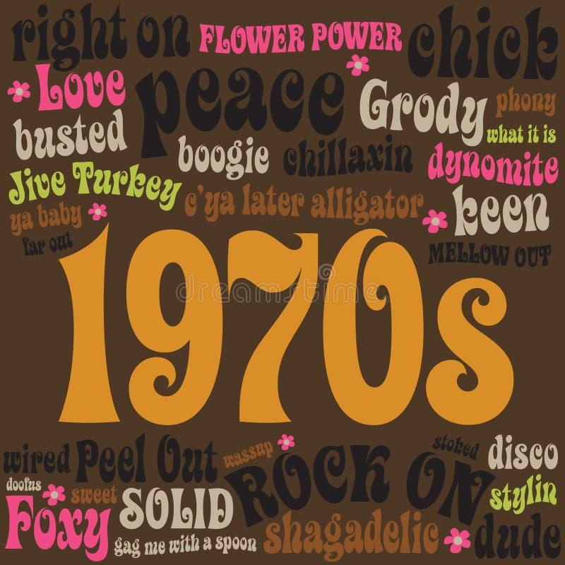 Phrasen 70s und Jargons stock abbildung