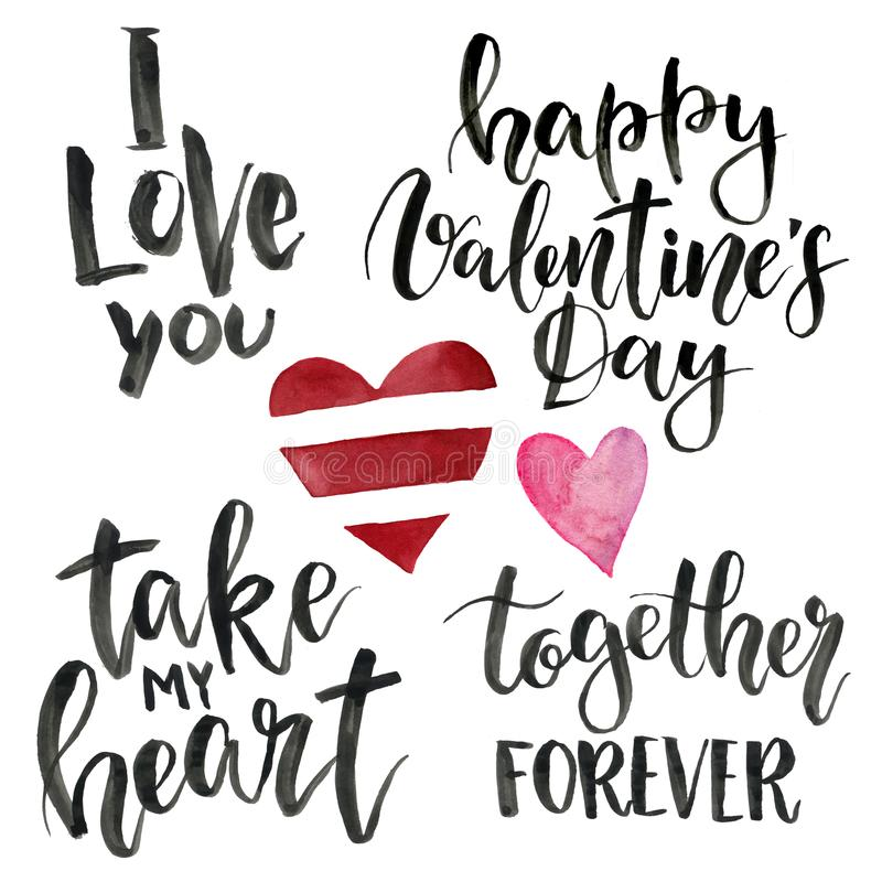 Phrases for Valentine`s Day: I love you, take my heart, happy Valentine`s Day, together forever. Watercolor illustration stock illustration