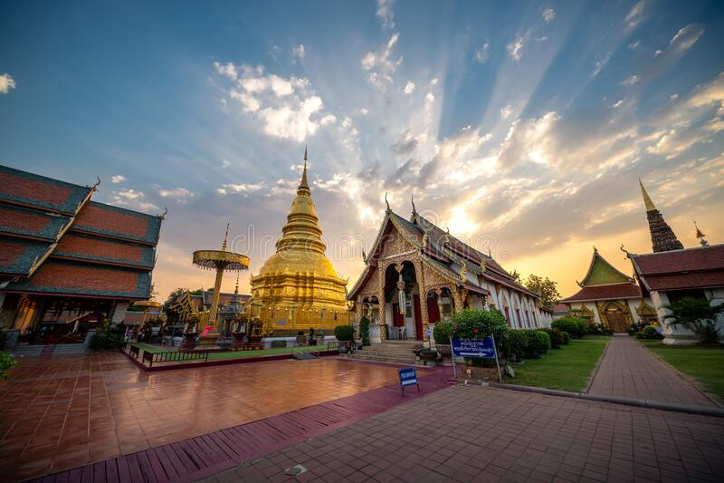 Phrathat Hariphunchai Temple in Lamphun Province. LAMPHUN, THAILAND - February 22, 2020 : View of Phrathat Hariphunchai Temple in Lamphun Province royalty free stock photo