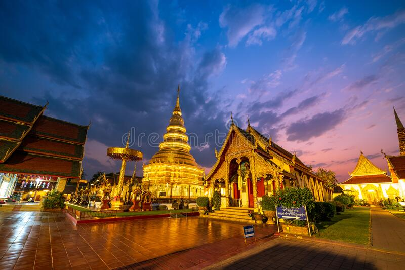 Phrathat Hariphunchai Temple in Lamphun Province. LAMPHUN, THAILAND - February 22, 2020 : View of Phrathat Hariphunchai Temple in Lamphun Province stock photos