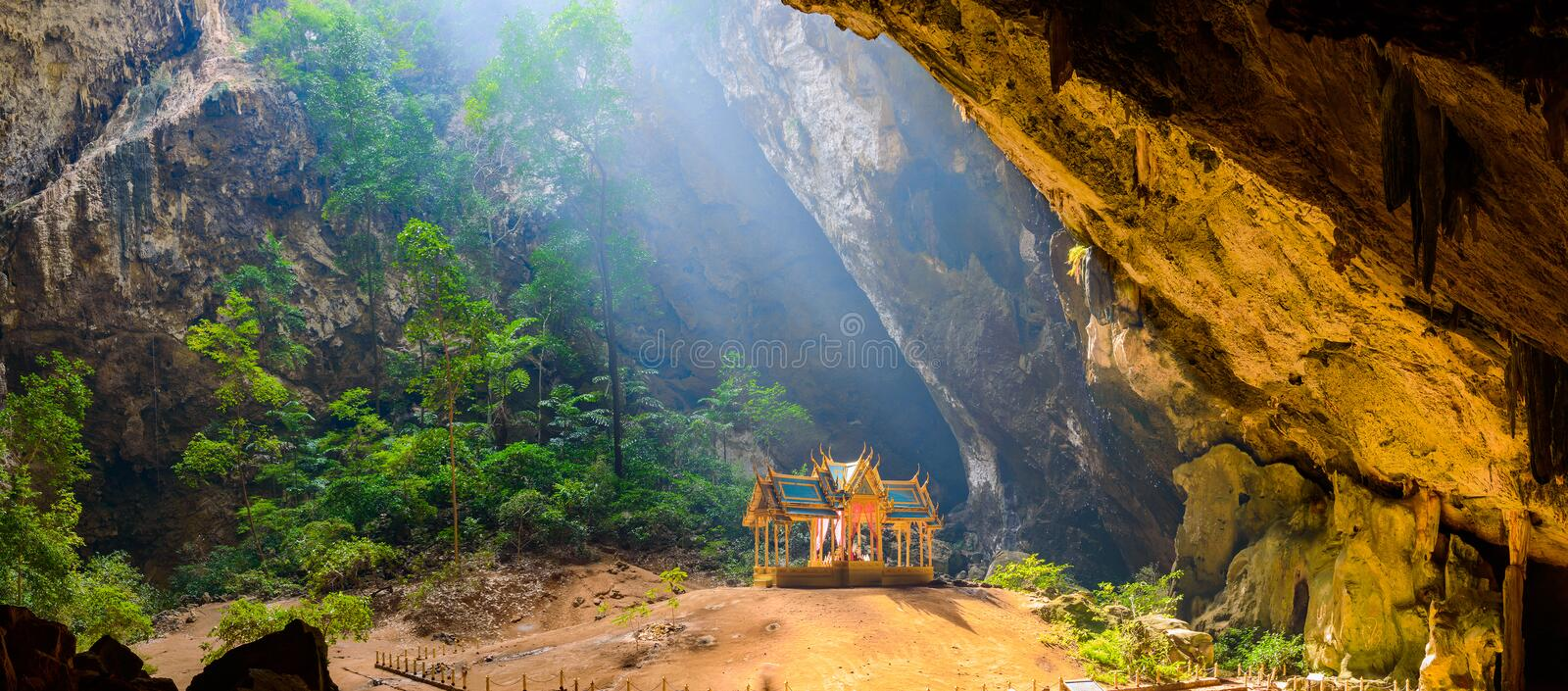 Phraya Nakhon Cave. Khao Sam Roi Yot National Park in Thailand. Small temple in the sun rays in cave royalty free stock photography