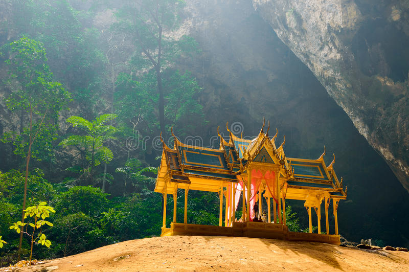 Phraya Nakhon Cave. Khao Sam Roi Yot National Park in Thailand. Small temple in the sun rays in cave stock photo