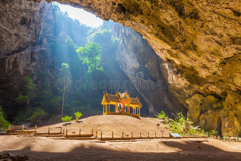 Phraya Nakhon Cave. Is the most popular attraction is a four-gabled pavilion constructed during the reign of King Rama its beauty and distinctive identity the stock image