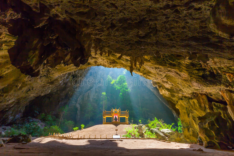 Phraya Nakhon Cave. Is the most popular attraction is a four-gabled pavilion constructed during the reign of King Rama its beauty and distinctive identity the stock photos