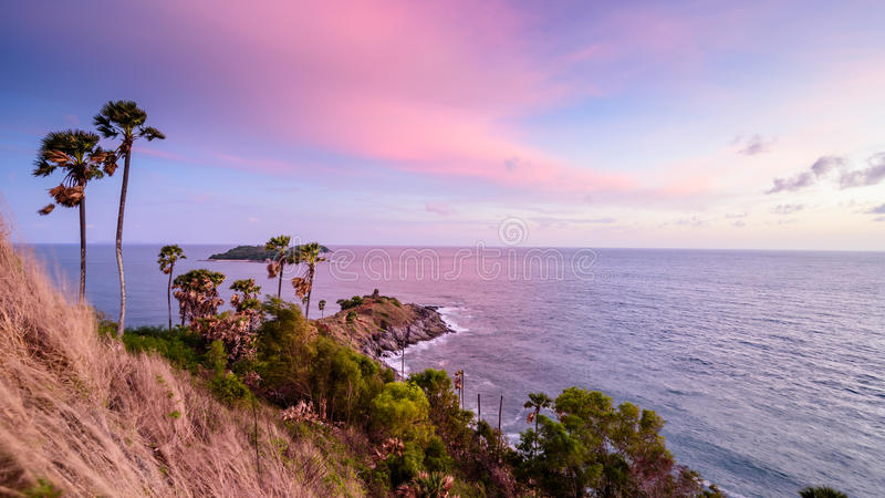 Phromthep cape southest point of Phuket island. Before sunset and beautiful sky in evening royalty free stock photography