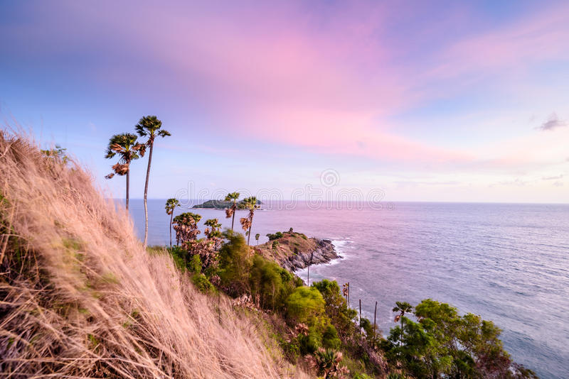 Phromthep cape southest point of Phuket island. Before sunset and beautiful sky in evening stock image
