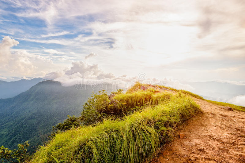 Phu池氏在日落的Fa森林公园,泰国 免版税库存照片