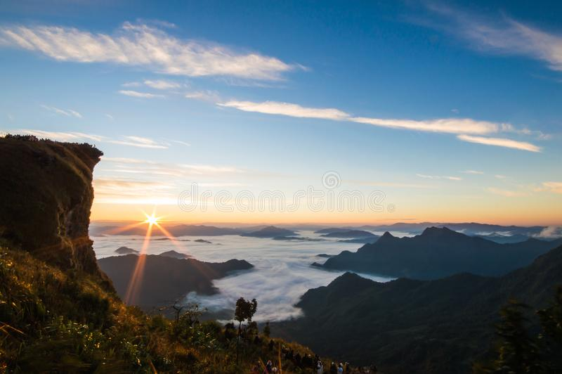Landscape of the sunrise time at the Phu Chi Fa mountain. stock images