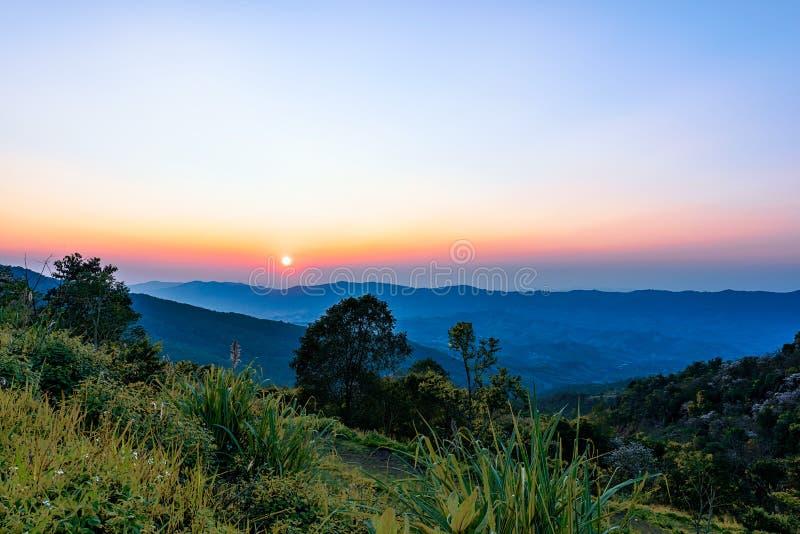 Phu Chi Fah in Chiang Rai,Thailand at sunset. stock photography