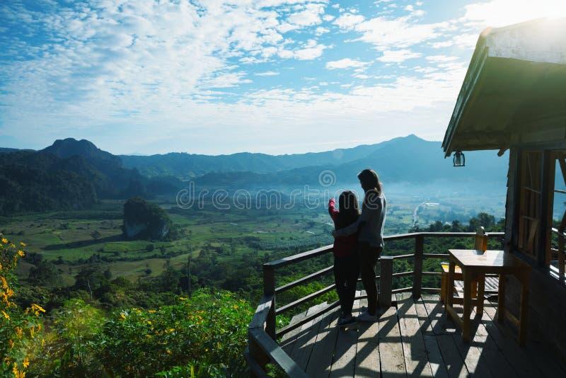 Phu Langka. Asian family mother and daughter looking at nature park, Thailand royalty free stock photography