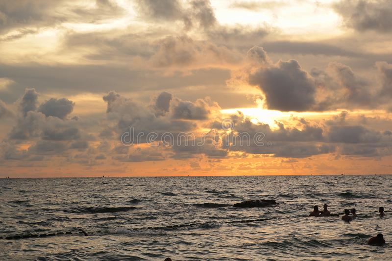 Phu Quoc, Viet Nam - August 12,2017: Beautiful landscape with the beach, cloud, sun in the sunset scenic stock images