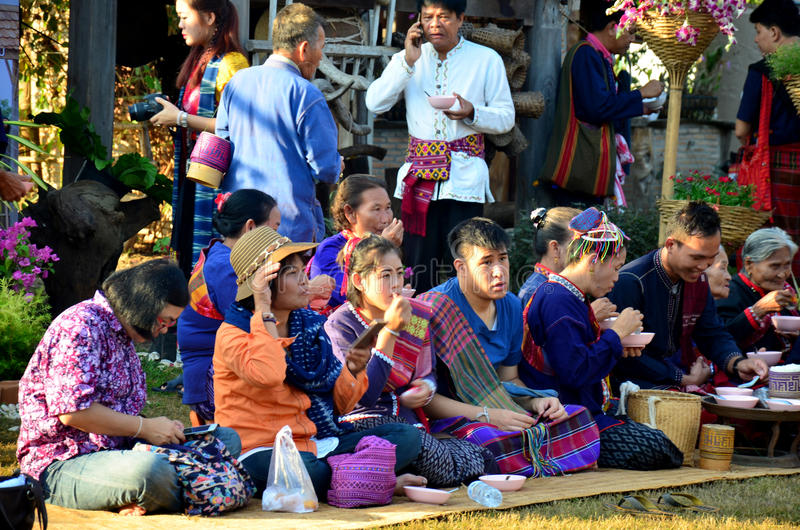 Phu Tai people sit and eat breakfast after join in phutai day fe. Stival in morning time at Ban Non Hom on January 17, 2016 in Sakon Nakhon, Thailand stock images