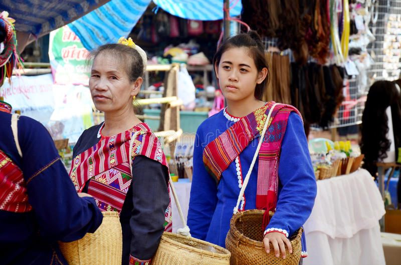 Phu thai people wear clothes national costume. SAKON NAKHON, THAILAND - JANUARY 15 : Phu thai people wear clothes national costume phu thai for show and join phu royalty free stock photos