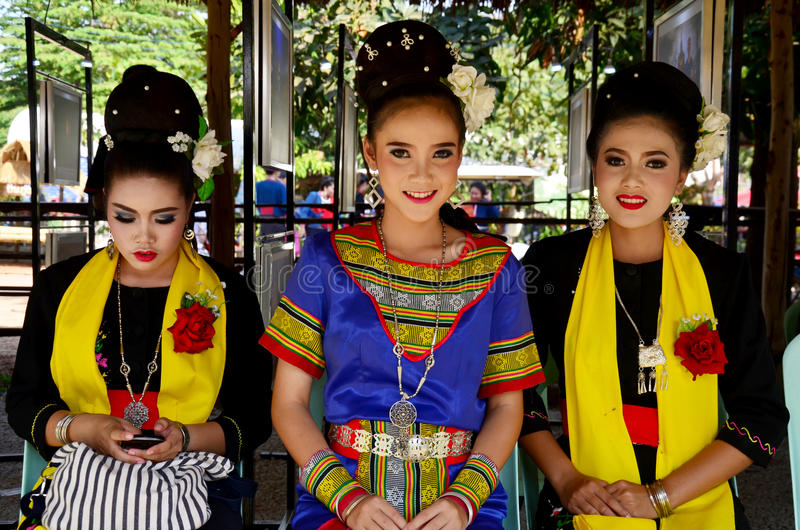 Phu thai people wear clothes national costume. SAKON NAKHON, THAILAND - JANUARY 15 : Phu thai people wear clothes national costume phu thai for show and join phu stock photography