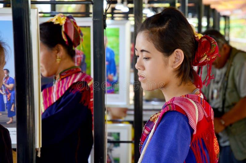 Phu thai people wear clothes national costume. SAKON NAKHON, THAILAND - JANUARY 15 : Phu thai people wear clothes national costume phu thai for show and join phu royalty free stock photography