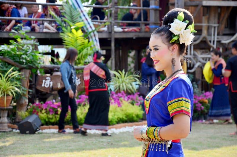 Phu thai people wear clothes national costume. SAKON NAKHON, THAILAND - JANUARY 15 : Phu thai people wear clothes national costume phu thai for show and join phu royalty free stock photo
