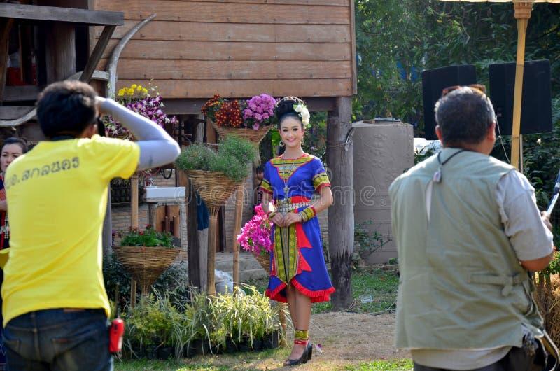Phu thai people wear clothes national costume. SAKON NAKHON, THAILAND - JANUARY 15 : Phu thai people wear clothes national costume phu thai for show and join phu stock image