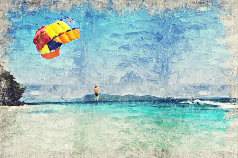 PHUKET, ΤΑΪΛΆΝΔΗ - 18 ΙΑΝΟΥΑΡΊΟΥ: parashoot ομπρέλα στην παραλία ο στοκ εικόνες