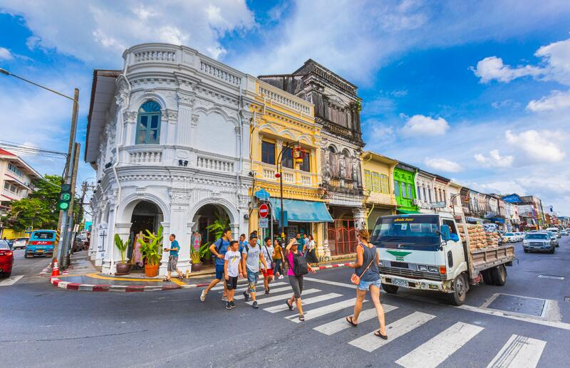 Phuket city center in Thailand with buildings and city life. Outdoors at the intersection of a stock photos