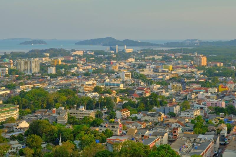Phuket city on top view stock photos