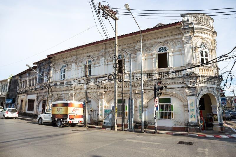 PHUKET - 5 de mayo: Edificios viejos en phuket en mayo 5,2015 en Tailandia Una atracción turística significativa para Phuket fotografía de archivo
