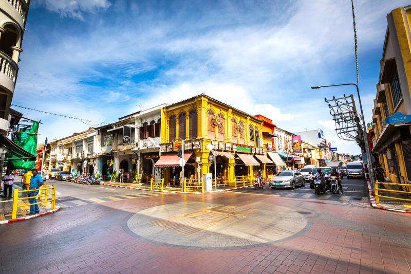 Historic center of the famous city of Phuket in Thailand. Phuket Districtul Mueang, Thailand. August 3, 2019: Historic center of the famous city of Phuket in stock photos