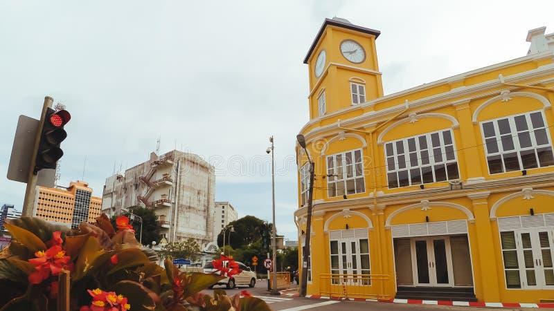 Phuket gammal stad i thalangväg med portugisisk stilbuil för chino arkivbilder