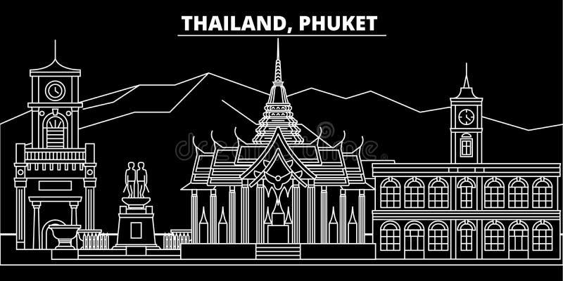 Phuket konturhorisont Thailand - Phuket vektorstad, thai linjär arkitektur, byggnader Phuket lopp vektor illustrationer