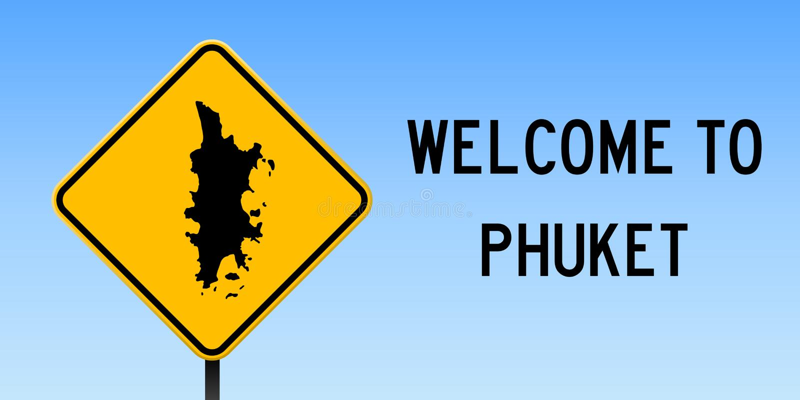 Phuket mapa na drogowym znaku ilustracji