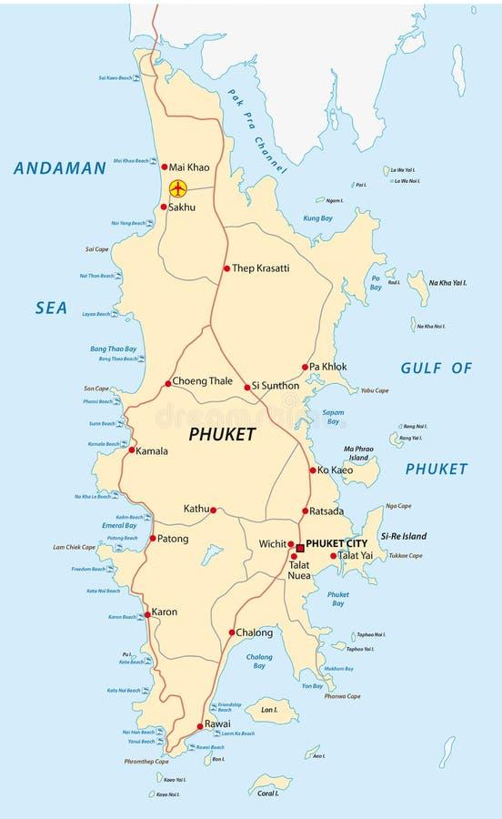 Phuket road and beach map stock illustration. Illustration ...