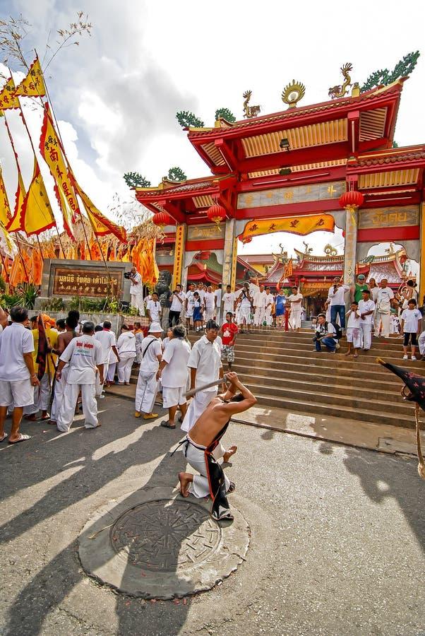 PHUKET, TAILANDIA - 29 DE SEPTIEMBRE: Festival vegetariano en Phuket T foto de archivo