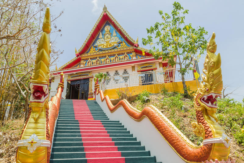 Phuket, Thailand - April 25, 2016 : The main stair leading to the replica of Phra That In-Kwaen Hanging Golden Rock , Thailand stock photos