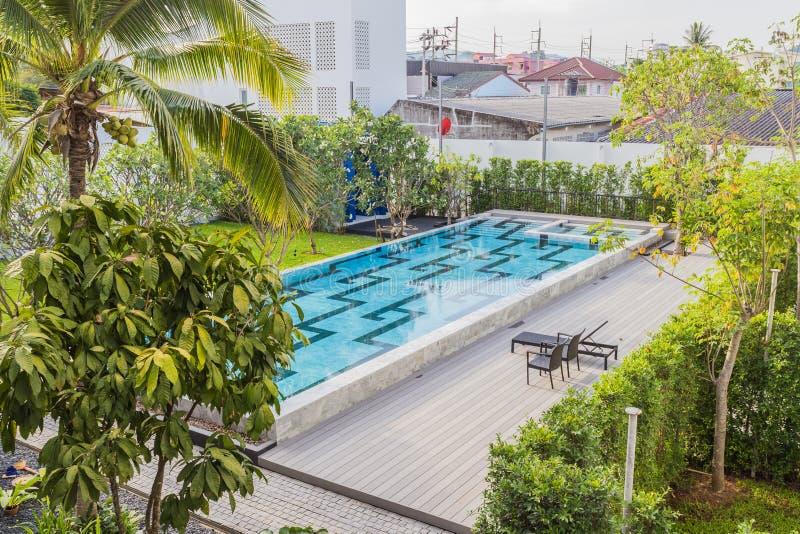 Phuket, Thailand - April 19, 2017: The swimming pool of the Little Nyonya Hotel, the beautiful Sino-Portuguese style hotel stock image