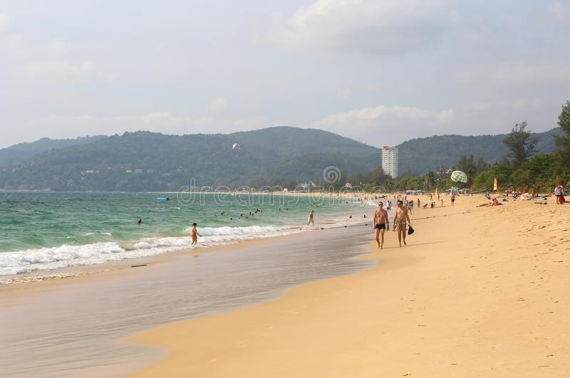 Tourists enjoying day at Karon Beach royalty free stock photo