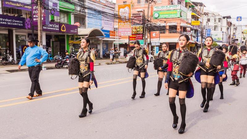 Phuket, Thailand - Aug 26, 2016 : Cheerleader and parade of various sc royalty free stock photo