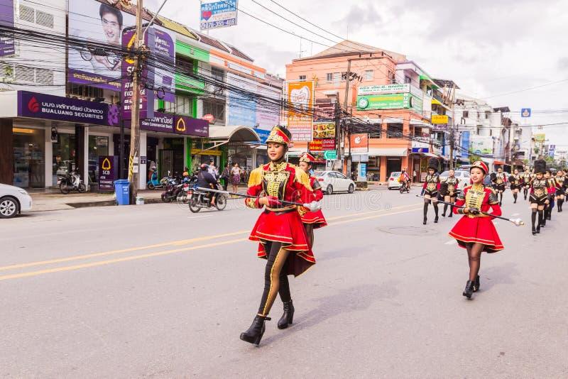 Phuket, Thailand - Aug 26, 2016 : Cheerleader and parade of various sc stock image