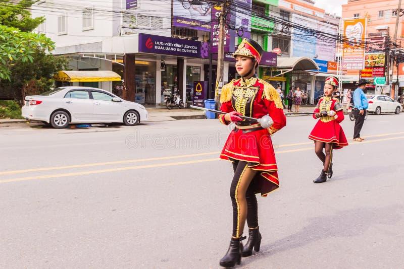 Phuket, Thailand - Aug 26, 2016 : Cheerleader and parade of various sc stock photos