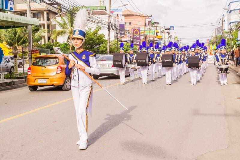 Phuket, Thailand - Aug 26, 2016 : Cheerleader and parade of various sc stock photography