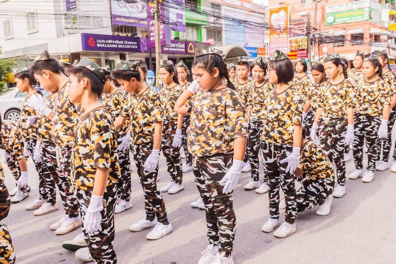 Phuket, Thailand - Aug 26, 2016 : Parade of various schools in Phuket royalty free stock photos
