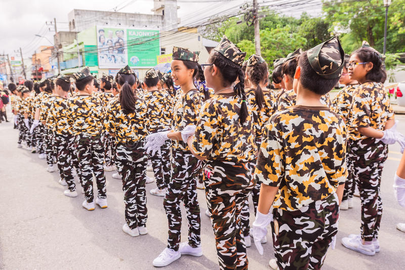 Phuket, Thailand - Aug 26, 2016 : Parade of various schools in Phuket royalty free stock images