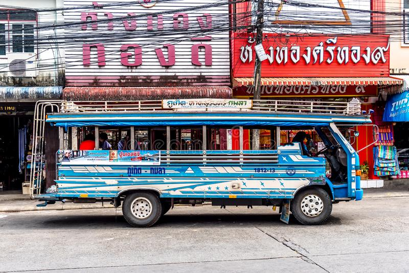 PHUKET,THAILAND - AUG 7, 2019: The Small four Wheel truck transport in Phuket royalty free stock photography